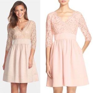 Eliza J Lace & Faille Blush Pink Lace Dress 12